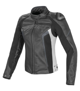 CHAQUETA PIEL DAINESE RACING D1 LADY BL/NG/GR