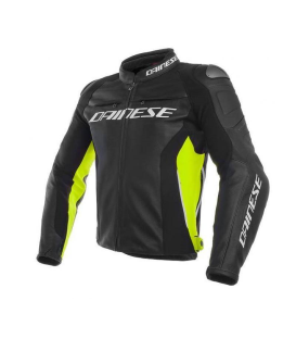 CHAQUETA PIEL DAINESE RACING 3 BLACK/FLUOR YELLOW