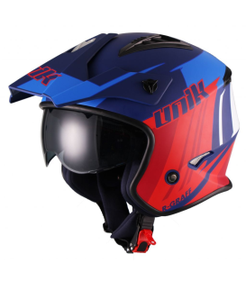 CASCO TRIAL UNIK CT-07 AZUL/ROJO/BLANCO