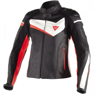 CHAQUETA PIEL DAINESE VELOSTER NG/BL/FLUO LADY
